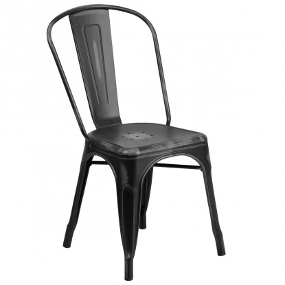 Bistro Style Metal Chair in Distressed Black Finish
