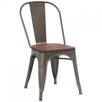 Bistro Style Metal Chair in Dark Grey Finish and Walnut Wood Seat