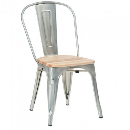 Bistro Style Metal Chair in Silver Finish and Natural Wood Seat