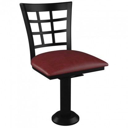 Window Back Bolt Down Swivel Metal Chair