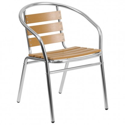 Economy Aluminum & Faux Teak Patio Chair