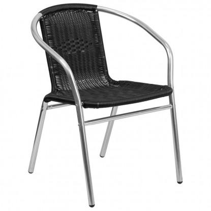 Economy Aluminum & Black Rattan Patio Chair