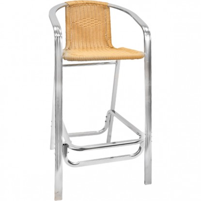 Double Tube Aluminum and Rattan Patio Bar Stool
