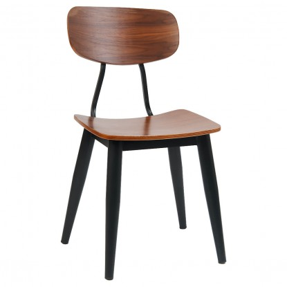 Basel Metal Chair with Veneer Back and Seat
