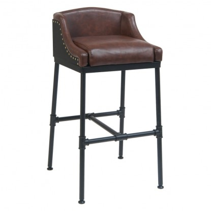 Tayla Brown Vinyl Metal Bar Stool