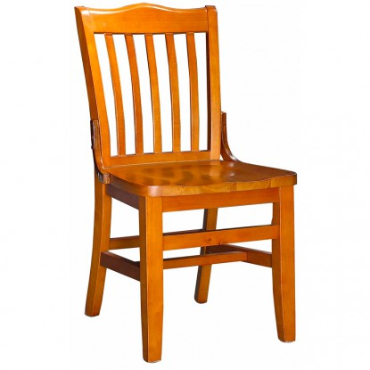 Schoolhouse Wood Restaurant Chair - Cherry Finish with a Wood Seat