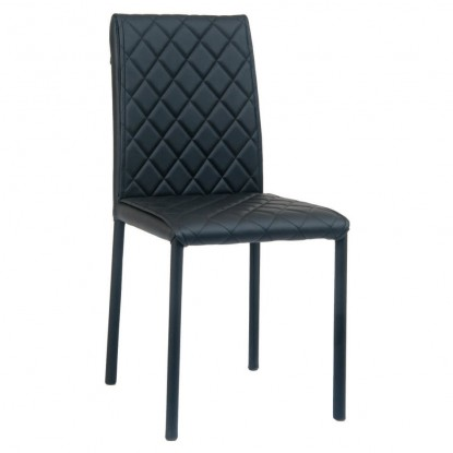 Diamond Tufted Padded Metal Chair with Black Vinyl Upholstery
