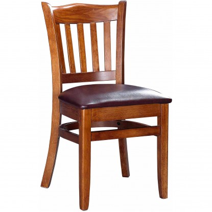 Crown Back Wood Chair - Walnut Finish with Wine Vinyl Seat