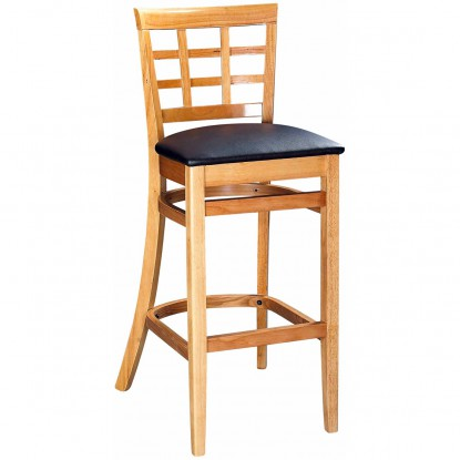 Window Back Bar Stool - Natural Finish with a Buckskin Vinyl Seat