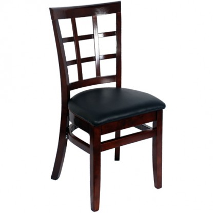 Window Back Restaurant Chair - Dark Mahogany Finish with a Black Vinyl Seat