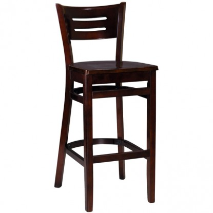 Henry Wood Bar Stool - Dark Mahoagany Finish with a Wood Seat