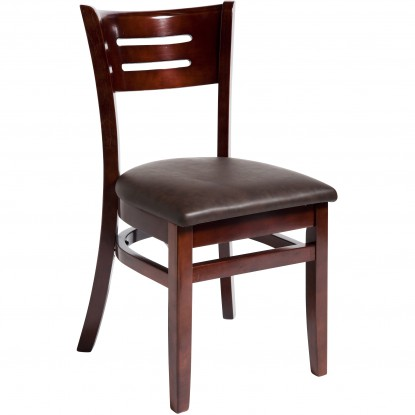 Henry Wood Chair - Dark Mahogany Finish with a Wine Vinyl Seat
