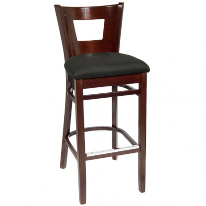 Duna Wood Bar Stool - Dark Mahogany Finish with a Black Fabric Seat
