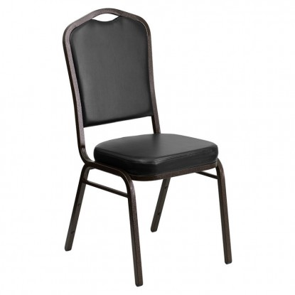 Gold Vein Metal Stack Chair in Black Vinyl