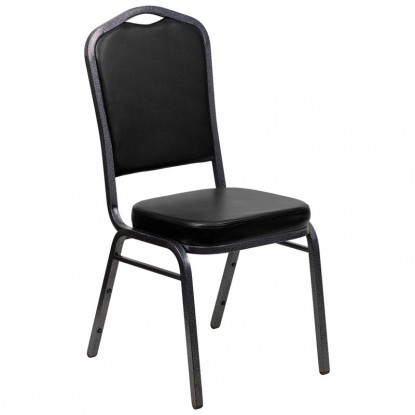 Silver Vein Metal Stack Chair in Black Vinyl