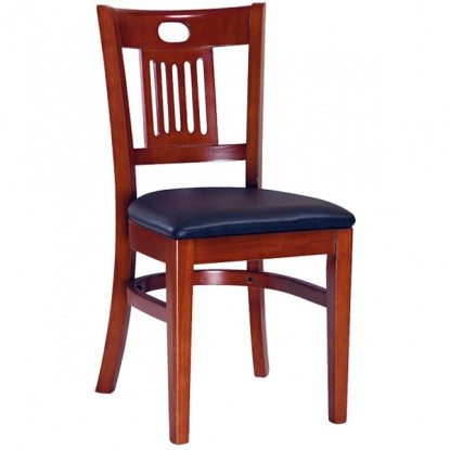 Deco Wood Chair - Mahogany Finish with a Black Vinyl Seat