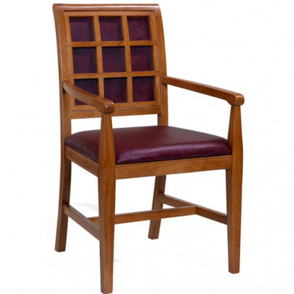 Fully Upholstered Straight Window Back Wood Chair