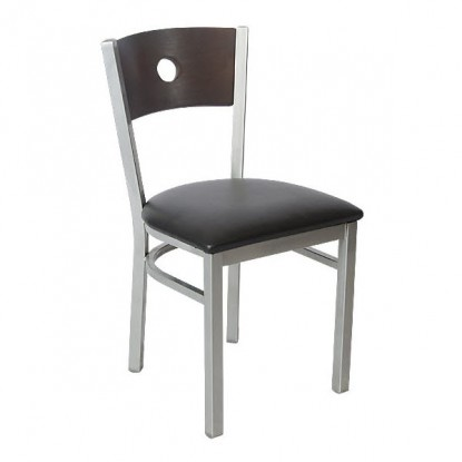 Silver Interchangeable Back Metal Restaurant Chair with a Circled Back