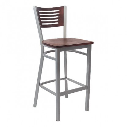 Silver Interchangeable Back Metal Bar Stool with 5 Slats