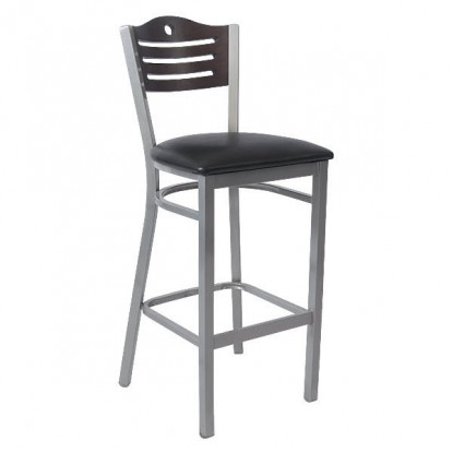 Silver Interchangeable Back Metal Bar Stool with Slats & Circle