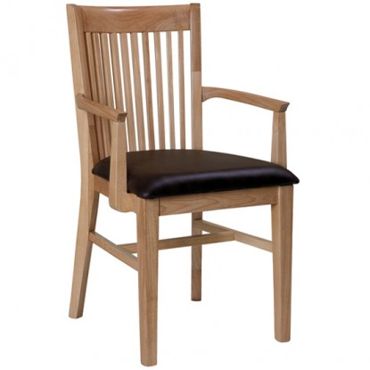 Elongated Vertical Slat Back Arm Chair