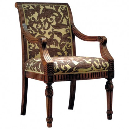 Go-Al Fully Upholstered Wood Arm Chair
