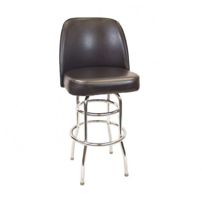 Chrome Swivel Bar Stool with a Double Ring Frame and Extra Large Seat