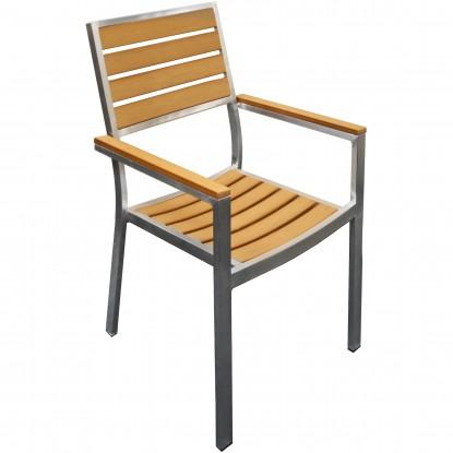 Natural Plastic-Teak Metal Patio Chair
