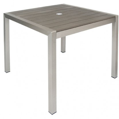 Aluminum Patio Table in Grey Color Finish with Plastic Teak Slats