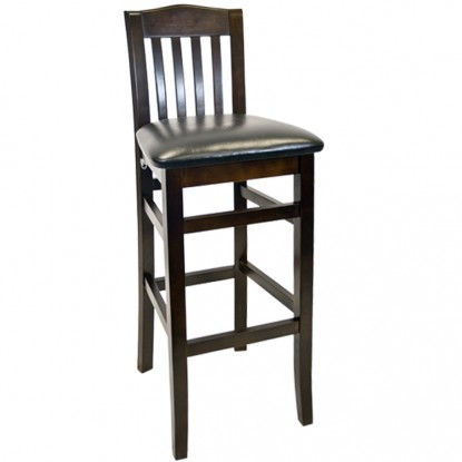 Beechwood Vertical Slat Bar Stool - Walnut Finish with a Black Vinyl Seat