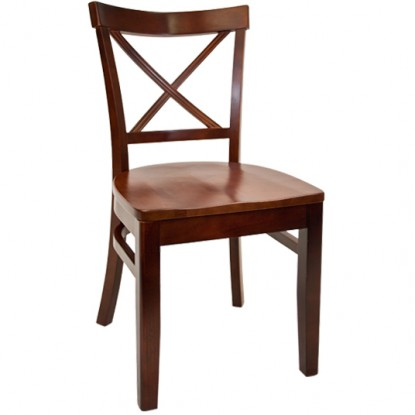 Beechwood X Back Restaurant Chair - Dark Mahogany Finish with a Wood Seat