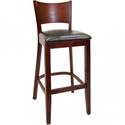 Beechwood Curved Plain Back Bar Stool - Dark Mahogany Finish with a Black Vinyl Seat
