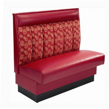 6 Channel Restaurant Booth with Red Vinyl Seat - Single