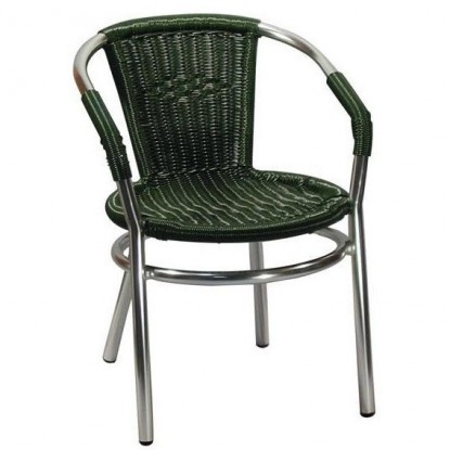 Aluminum Patio Arm Chair with Faux Green Rattan