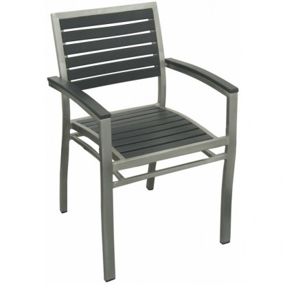 Aluminum Patio Arm Chair with Black Plastic Teak