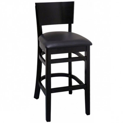 Curved Back Wood Bar Stool