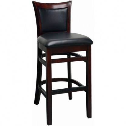 Upholstered Back Curved Back Wood Bar Stool