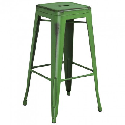 Backless Distressed Green Bistro Style Bar Stool
