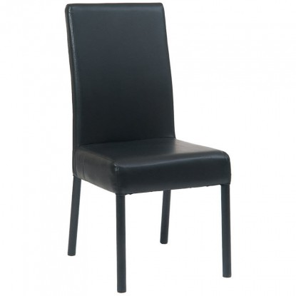 Metal Parsons Lounge Chair in Black Finish and Black Vinyl Upholstery