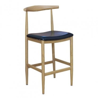 Dark Grey Bistro Style Metal Bar Stool with Wood Seat in Natural Finish