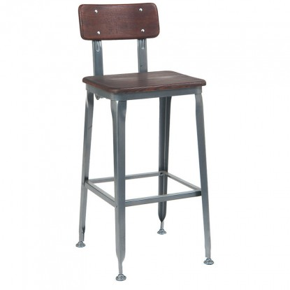 Dark Grey Industrial Style Metal Bar Stool with Wood Back and Seat in Walnut Finish