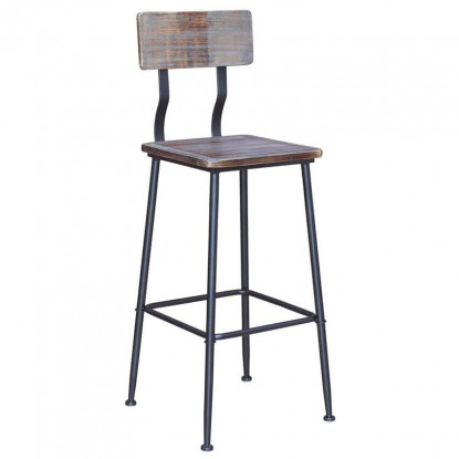 Black Industrial Style Metal Bar Stool with Wood Back and Seat in Black Finish