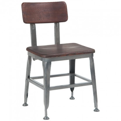Industrial style dark grey metal chair and dark walnut finish wood back & seat
