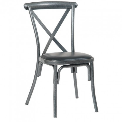Stackable Metal X-Back Chair in Silver Vein Finish with Black Vinyl Seat