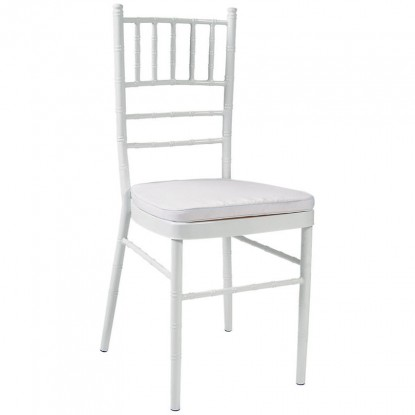 Economy White Metal Chiavari Chair with White Cushion