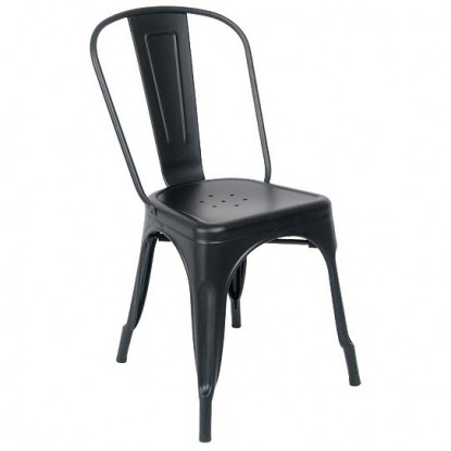 Bistro Style Metal Chair in Black Finish