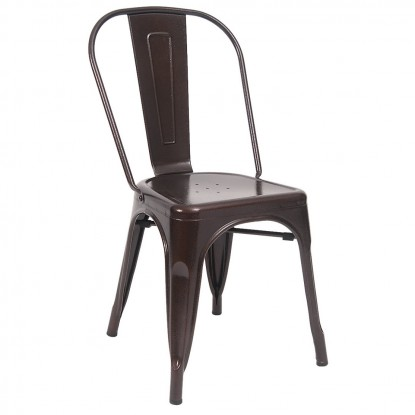 Indoors Bistro Style Metal Chair in Brown Finish