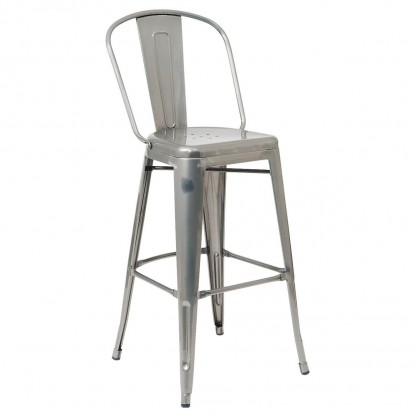 Bistro Style Metal Bar Stool in Clear Finish
