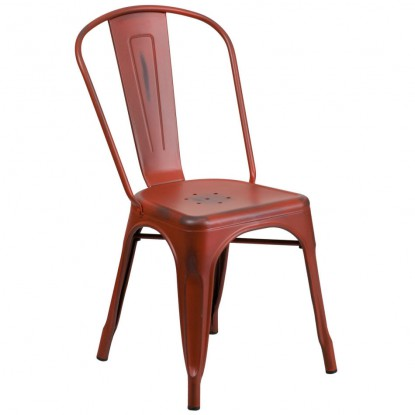 Bistro Style Metal Chair in Distressed Red Finish