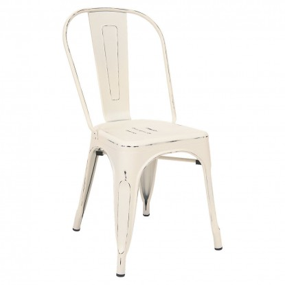 Bistro Style Metal Chair in Distressed White Finish